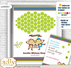 Monkeys Girl Boy Guest Book Alternative for a Baby Shower, Creative Nursery Wall Art Gift, Pink Blue Green, Twins