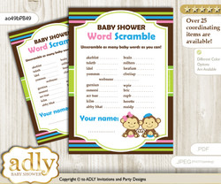 Monkeys Girl Boy Word Scramble Game for Baby Shower