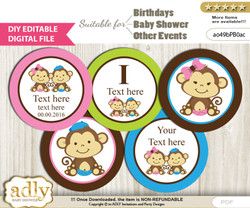 DIY Text Editable Monkeys Girl Boy Cupcake Toppers Digital File, print at home, suitable for birthday, baby shower, baptism