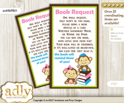 Request a Book Instead of a Card for Monkeys Girl Boy Baby Shower or Birthday, Printable Book DIY Tickets, Twins, Pink Blue Green