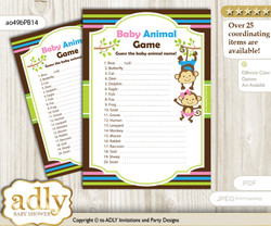 Printable Monkeys Girl Boy Baby Animal Game, Guess Names of Baby Animals Printable for Baby Girl Boy Shower, Pink Blue Green, Twins