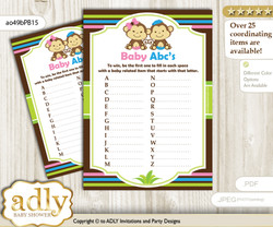 Monkeys Girl Boy Baby ABC's Game, guess Animals Printable Card for Baby Girl Boy Shower DIY – Twins