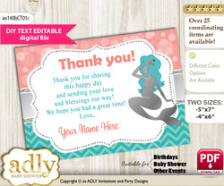 DIY Editable Mermaid Girl Thank you Printable card, only text editable thank you for Baby Shower or Birthday Party