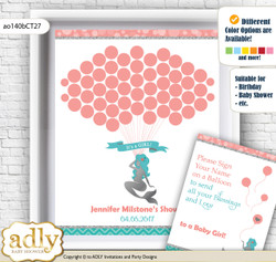 Mermaid Girl Guest Book Alternative for a Baby Shower, Creative Nursery Wall Art Gift, Teal Silver, Coral