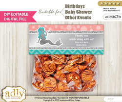 DIY Text Editable Mermaid Girl Goodie  Treat Bag Toppers, Favor Bag Digital File, print at home