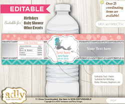 DIY Text Editable Mermaid Girl Water Bottle Label, Personalizable Wrapper Digital File, print at home for any event