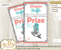 Mermaid Girl Diaper Raffle Printable Tickets for Baby Shower, Teal Silver, Coral