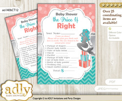 Printable Mermaid Girl Price is Right Game Card for Baby Girl Shower, Teal Silver, Coral