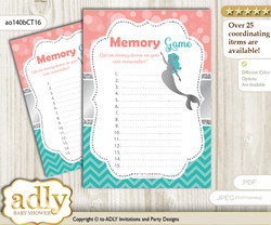 Mermaid Girl Memory Game Card for Baby Shower, Printable Guess Card, Teal Silver, Coral