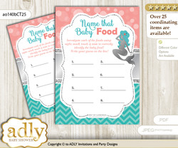 Mermaid Girl Guess Baby Food Game or Name That Baby Food Game for a Baby Shower, Teal Silver Coral