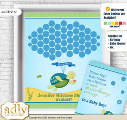 Turtle Boy Guest Book Alternative for a Baby Shower, Creative Nursery Wall Art Gift, Sea, Reef