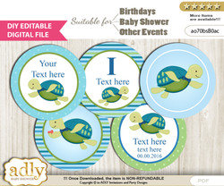 DIY Text Editable Turtle Boy Cupcake Toppers Digital File, print at home, suitable for birthday, baby shower, baptism