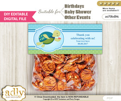 DIY Text Editable Turtle Boy Goodie  Treat Bag Toppers, Favor Bag Digital File, print at home