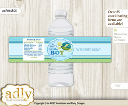 Turtle Boy Water Bottle Wrappers, Labels for a Boy  Baby Shower, Sea, Reef