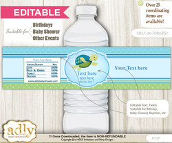 DIY Text Editable Turtle Boy Water Bottle Label, Personalizable Wrapper Digital File, print at home for any event