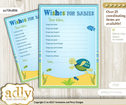Turtle Boy Wishes for a Baby, Well Wishes for a Little Boy Printable Card, Reef, Sea