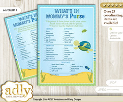 Turtle Boy What is in Mommy's Purse, Baby Shower Purse Game Printable Card , Sea,  Reef