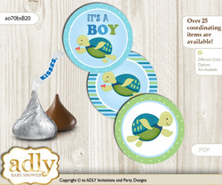 Printable  Turtle Boy Candy Kisses for Baby Turtle Shower DIY Sea , Reef