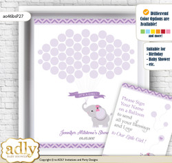 Elephant Girl Guest Book Alternative for a Baby Shower, Creative Nursery Wall Art Gift, Gray, Purple