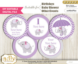 DIY Text Editable Elephant Girl Cupcake Toppers Digital File, print at home, suitable for birthday, baby shower, baptism