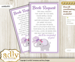 Request a Book Instead of a Card for Elephant Girl Baby Shower or Birthday, Printable Book DIY Tickets, Purple, Gray