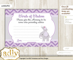 Gray Elephant Girl Words of Wisdom or an Advice Printable Card for Baby Shower, Purple