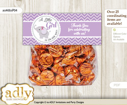Printable Elephant Girl Treat or Goodie bag Toppers for Baby Elephant Shower or Birthday DIY Gray, Purple