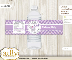 Elephant Girl Water Bottle Wrappers, Labels for a Girl  Baby Shower, Gray, Purple