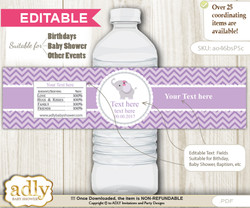 DIY Text Editable Elephant Girl Water Bottle Label, Personalizable Wrapper Digital File, print at home for any event