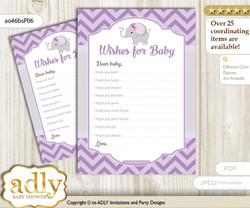 Elephant Girl Wishes for a Baby, Well Wishes for a Little Girl Printable Card, Purple, Gray