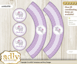 Printable Elephant Girl Cupcake, Muffins Wrappers plus Thank You tags for Baby Shower Gray, Purple