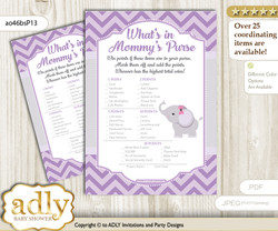 Elephant Girl What is in Mommy's Purse, Baby Shower Purse Game Printable Card , Gray,  Purple