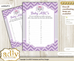 Elephant Girl Baby ABC's Game, guess Animals Printable Card for Baby Girl Shower DIY – Purple