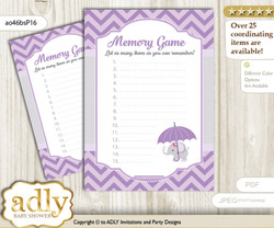 Elephant Girl Memory Game Card for Baby Shower, Printable Guess Card, Gray, Purple