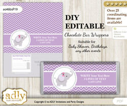 DIY Personalizable Elephant Girl Chocolate Bar Candy Wrapper Label for Elephant  baby shower, birthday Gray , editable wrappers