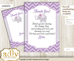 Elephant  Girl Thank you Cards for a Baby Elephant Shower or Birthday DIY Gray, Purple