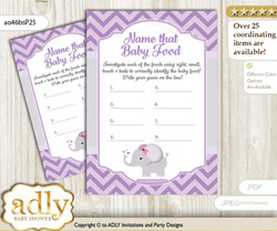Elephant Girl Guess Baby Food Game or Name That Baby Food Game for a Baby Shower, Gray Purple