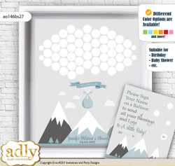 Adventure Mountain Guest Book Alternative for a Baby Shower, Creative Nursery Wall Art Gift, Gray White, Boy