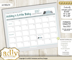DIY Adventure Mountain Baby Due Date Calendar, guess baby arrival date game n