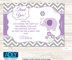 Girl Elephant  Thank you Printable Card with Name Personalization for Baby Shower or Birthday Party