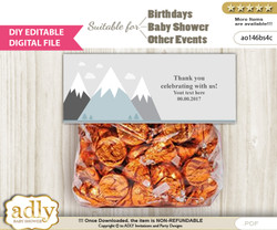 DIY Text Editable Adventure Mountain Goodie  Treat Bag Toppers, Favor Bag Digital File, print at home  n