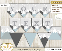 DIY Personalizable Adventure Mountain Printable Banner for Baby Shower, Gray White, Boy