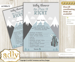 Printable Adventure Mountain Price is Right Game Card for Baby Mountain Shower, Gray White, Boy