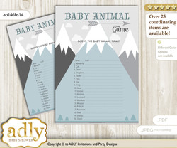 Printable Adventure Mountain Baby Animal Game, Guess Names of Baby Animals Printable for Baby Mountain Shower, Gray White, Boy