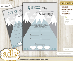 Adventure Mountain Dirty Diaper Game or Guess Sweet Mess Game for a Baby Shower Gray White, Boy