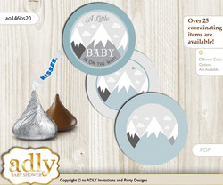 Printable  Adventure Mountain Candy Kisses for Baby Adventure Shower DIY Gray White , Boy n