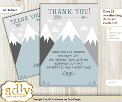 Adventure  Mountain Thank you Cards for a Baby Adventure Shower or Birthday DIY Gray White, Boy