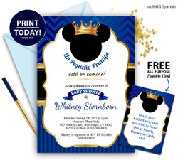 Spanish Pirnce Mikcey baby shower invitation gold crown Royal blue invitation