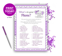 Peanut Elephant Girl What is in your Phone Game, Baby Shower games, Purple