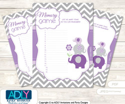 Girl Elephant Memory Game Card for Baby Shower, Printable Guess Card,  Purple Grey,  Chevron